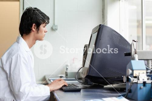 Student working with a monitor