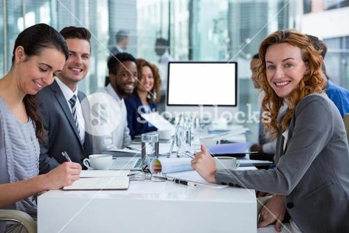 Portrait of businesspeople during video conference