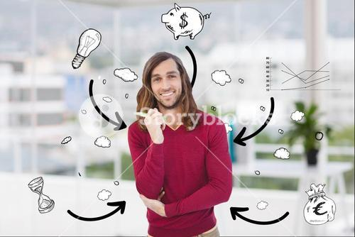 Casual man with business icons