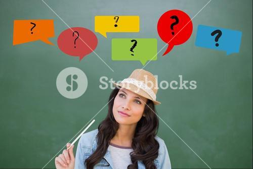 Casual woman with question marks