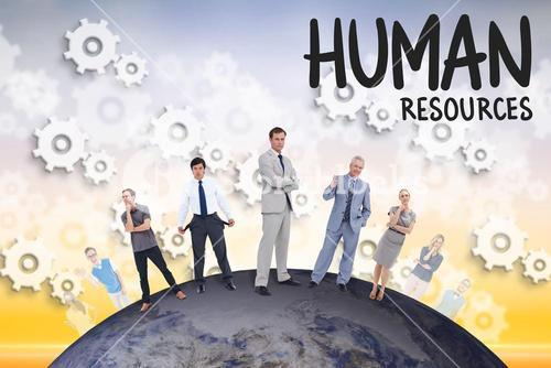 Business people standing on the earth