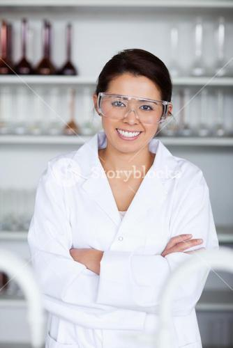Portrait of a young scientist posing