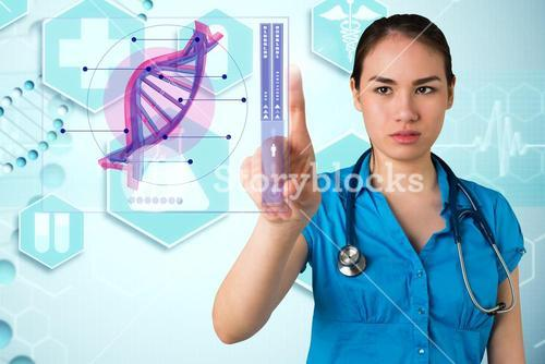 Doctor pointing on dna