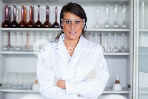 Female science student posing