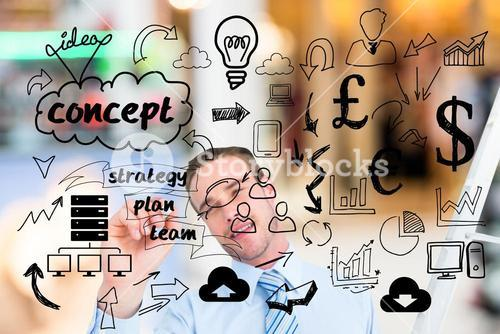 Businessman drawing concept icons