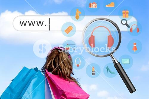 Woman with shopping bags and online shopping icons