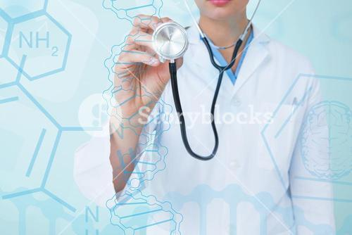 Young doctor using a stethoscope