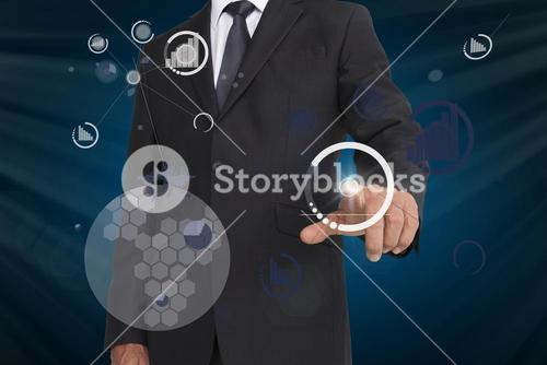 Businessman pointing on business icons