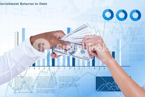 Business people holding dollars notes