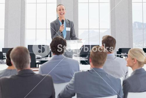 Businesswoman giving a speech