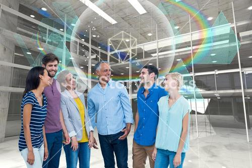 Young people standing under rainbow hologram