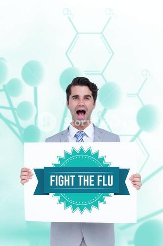 Casual man holding flu sign