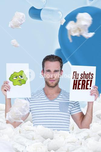 Casual man holding flu shot signs