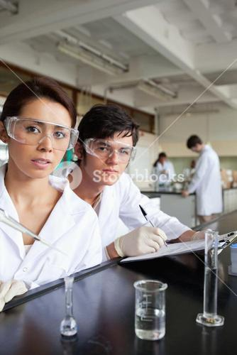 Portrait of science students working