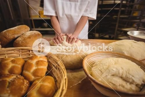 Mid-section of female baker kneading a dough
