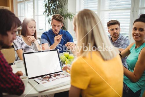 Graphic having discussion in office