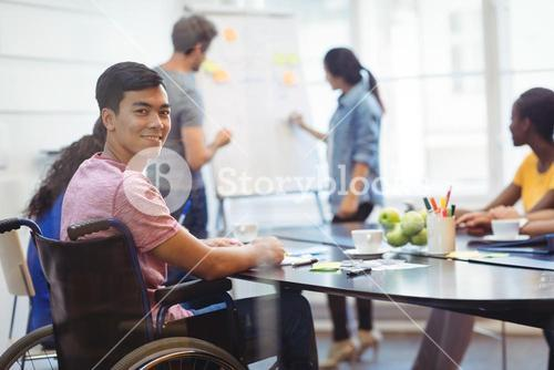 Portrait of business executive in meeting