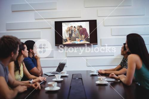 Business executives doing a video conference
