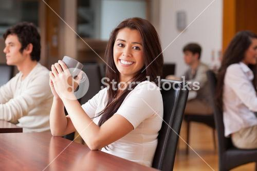 Woman having a cup of tea