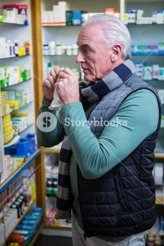 Customer checking medicines