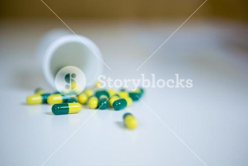 Capsules spilled on table