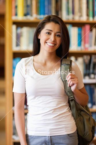 Portrait of a gorgeous student standing up