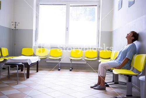 Patient sitting in a waiting room