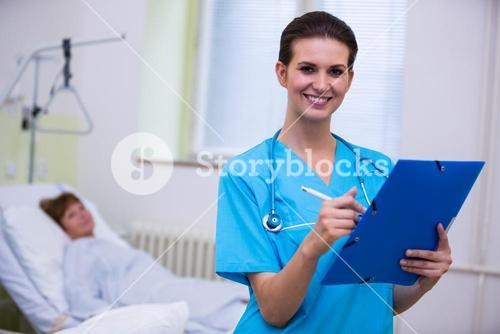 Nurse holding a medical report