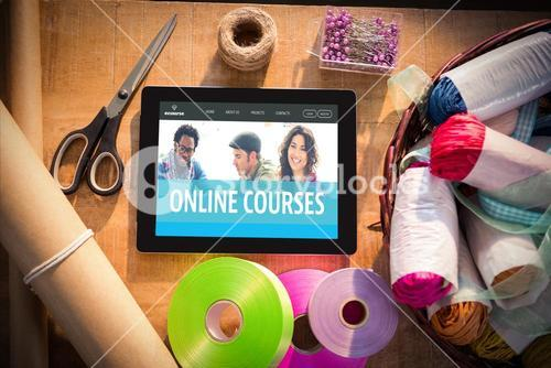 Composite image of online courses interface
