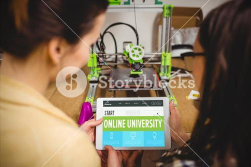 Composite image of online university interface
