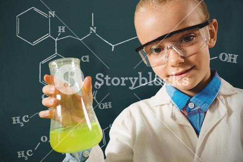 Composite image of girl dressed as a chemist