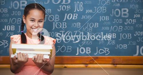 Composite image of school girl holding books