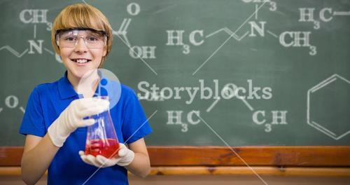 Composite image of boy smiling while holding conical flask
