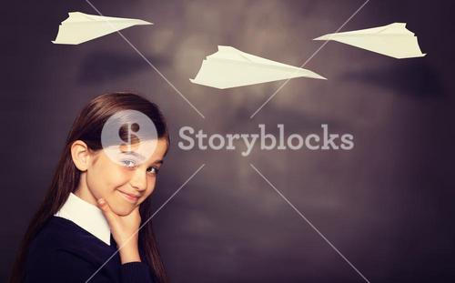 Composite image of paper airplane graphic