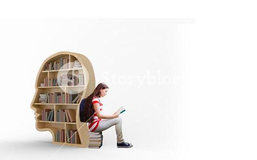 Composite image of student reading book in library