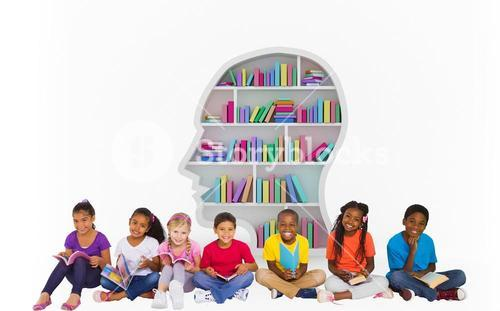 Composite image of elementary pupils reading books