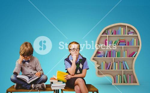 Composite image of pupils studying