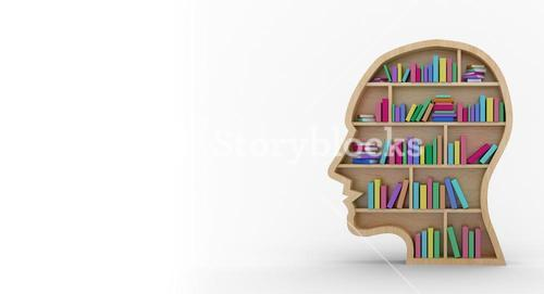 Colorful books in human face bookshelves over white background