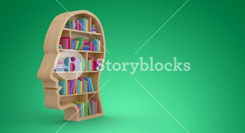 Composite image of colorful books in human face bookshelves