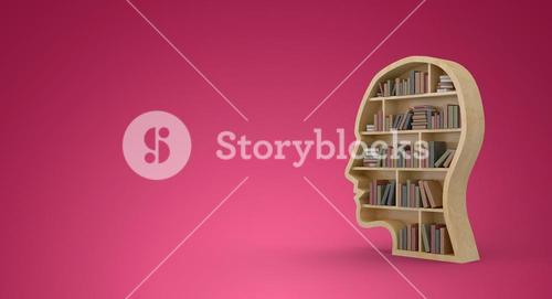 Composite image of books in brown human face bookshelves