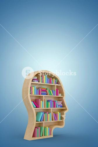 Composite image of digital image of colorful books in brown human face bookshelves