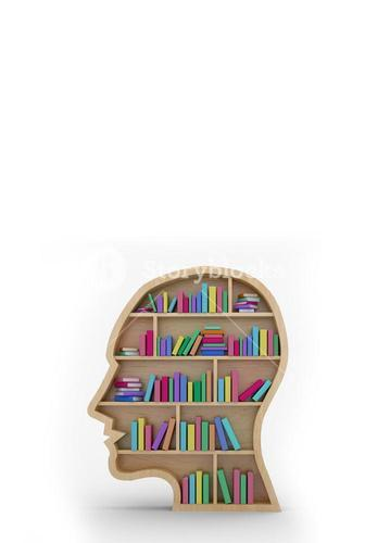 Composite image of colorful books in human face bookshelves over white background