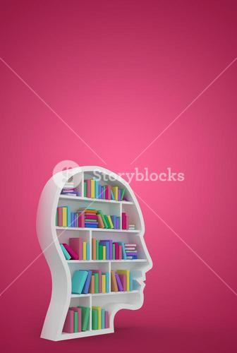 Composite image of colorful books in human face in bookshelves
