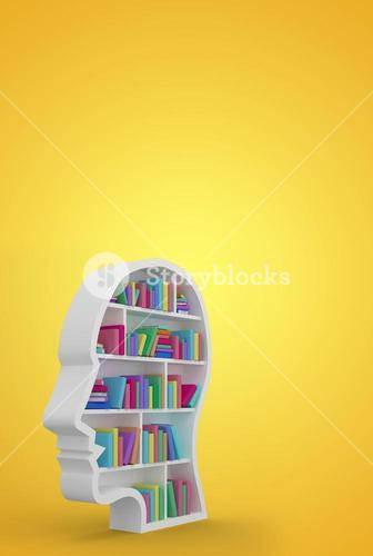 Composite image of colorful books in human face shape bookshelves