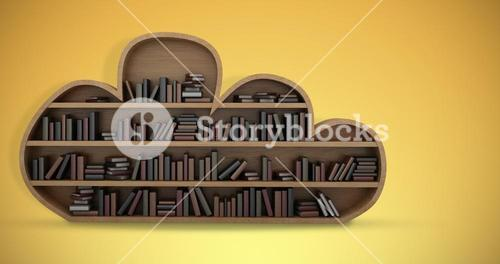 Composite image of books on cloud shaped wooden shelves