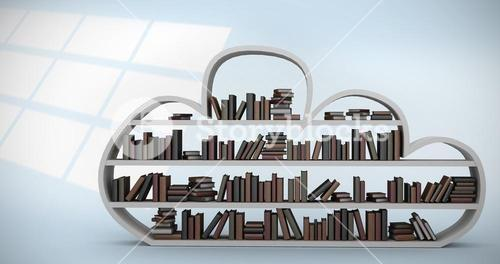 Composite image of digital image of shelf with books