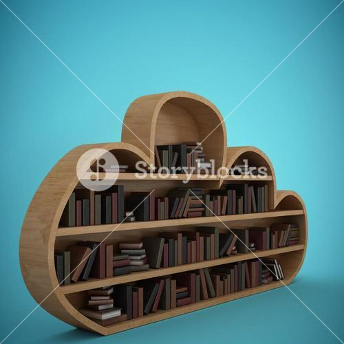 Composite image of books arranged on cloud shaped bookshelves