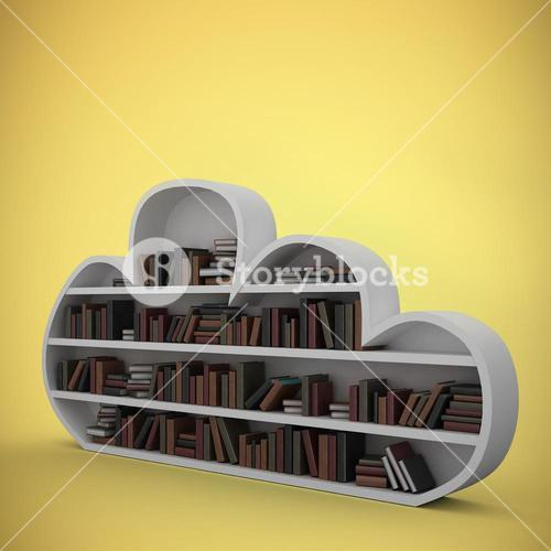 Composite image of gray shelf with various books