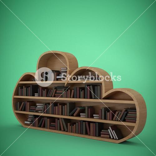 Composite image of various books on cloud shape bookshelves