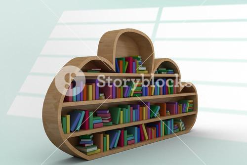 Composite image of various colourful books on wooden shelves